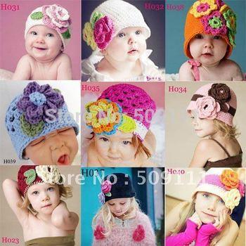 Spring Knitted Girls' Flower Cap Handmade Crochet Baby Flower Hat Hand Baby Hat Kids Infant Beanie 10pcs HT01
