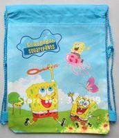 "SpongeBob SquarePants Non-woven Material Kids/Children Cute/Cartoon Drawstring Backpack Bag 15""X11"", 12 pcs/lot"