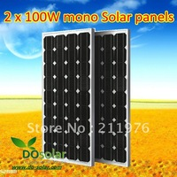 2x100W mono 12V solar panel for solar power system, solar street light, A grade solar cells, Cheap price from China manufacturer