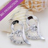 2014 Wholesale Lovely Fashion Jewelry 925 Sterling Silver Plated Rhinestone Heart Shape Hook Drop Earrings For Girls Hot Sale