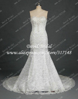 Real Sample DR043 Fully Handmade Extravagant Beaded Luxury Lace Bling Wedding Dresses Mermaid