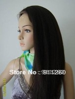 "Free Shipping! 18"",#1B,Soft Kinky Straight,Indian Human Hair,Lace Front Wigs, 8""-24"" In Stock Small,Medium,Large Size"