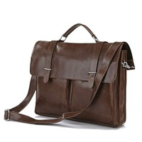 Free shipping High Quality Real leather Brown JMD Men's Briefcase Portfolio Business Bag Messenger Bag #7100B