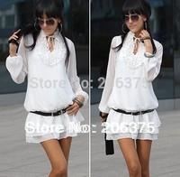 Hot selling 2014 Free Shipping Good Quality Women Gathered Design Neckline White Chiffon Layered Dress Lady Dresses+Black/White