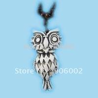 free shipping whole 12pcs/lot Tibet Imitation ox bone  bronze white  Carved owl pendant necklace p14
