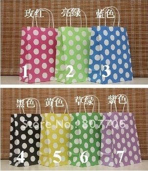 Free shipping(30pcs/lot) 27X21X11cm,Hot sales, colorful dots kraft paper bag +wholesale and retail