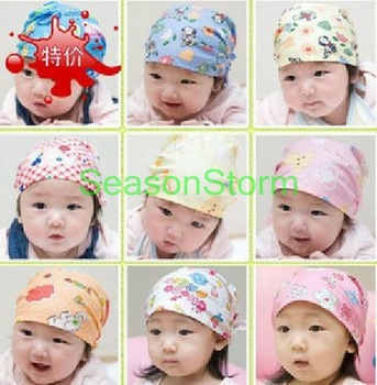 2 pcs/pack Retail Baby Cute Cotton Pirates Hat / Infant Print Headscarves Cap Mixed Styles  (SY-66)