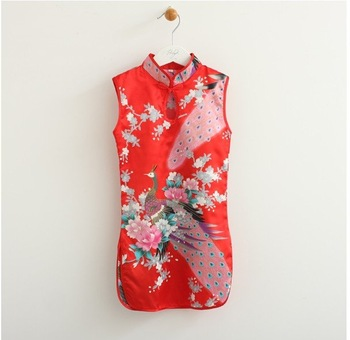 2012 dress , chinese Cheong-sam sleeveless , children dress , chinese design ,6pcs/lot .free shipping