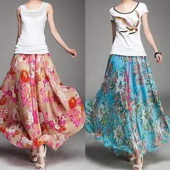 Lastest 2013 New Fashion Long Skirts Summer Dress Women Chiffon Porcelain 2013