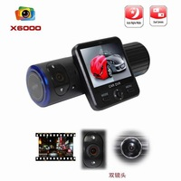 "Carcam 5.0 Mega 1080p*720p Car DVR X6000 with  2.0"" screen,120degree Dual Lens + G-Sensor + GPS + IR Light ! Free shipping"