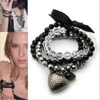 [Mix 15USD] Fashion 4 layers plastic crystal beads Black Heart Charm Ribbon elastic Bracelets Jewelry