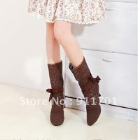 Hot HOT With bowknot since fashion hollow out lace wool female cool boots sandals big yards