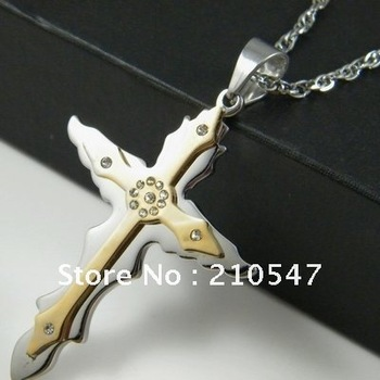 stainless steel gold cross pendant & 05 twoness buckle chain necklace religious jewelry necklace pendant  DZ293