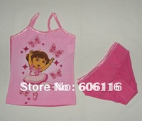 Wholesale(6sets/lot) Children/kids/baby girls pink Dora clothing set/ underwear set /pajamas set with vest and brief -YL-11036