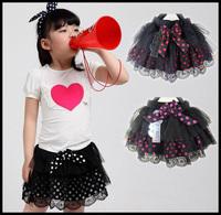 in stock 2014 3-colors splotchy tutu skirts for girls children's wear girl's chiffon dance skirt  11-044
