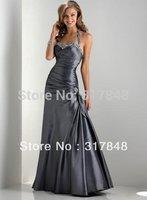 Popular style design custom made beaded halter pleated satin trumpet sheath evening dresses ED208