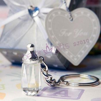 Wedding Souvenir Choice Crystal Collection baby bottle design key chain favors SJ010 baptism Favors