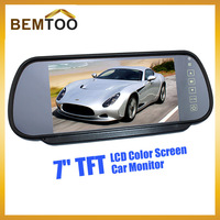 7'' TFT LCD Color Screen Car Monitor rearview Mirror camera,Free Shipping