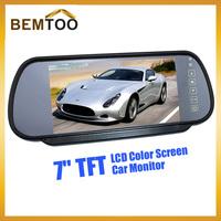 "Car Rear View Camera with Monitor 7"" Tft Color Hd Screen Lcd Car Rear View Mirror Dvd Monitor Reverse Backup , free Shipping"