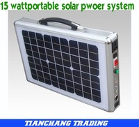 Free Shipping via DHL, 15W Portable Solar LED Lighting Power System for Emergency situations+output 220V/110V