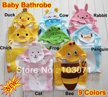 Best Selling--Baby Kid Child Toddler Soft Cotton Cartoon Animal Bathrobe Bath Towel Bath Beach Costume Coat Wrap Hooded Robe