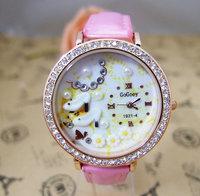 Wholesale women wristwatches ladies rhinestone  fashion leather strap quartz watch Women watches  nw240