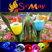 Free shipping Solar tulips light Solar flower light Solar lamp for garden decorations 7 colors 16pcs/lots