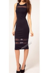 Promotion !! Lady's Black Mesh Transparent Knee-length Pencil Bodycon Fit Cocktail Dresses Evening Dresses E0743(China (Mainland))