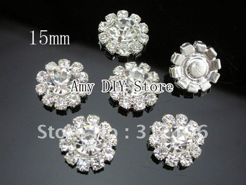Free Shipping!50pcs/lot 15mm Rosette Button, Alloy Full Of Crystal Button Spark Rhinestone Buttons, Jewelry Accessory