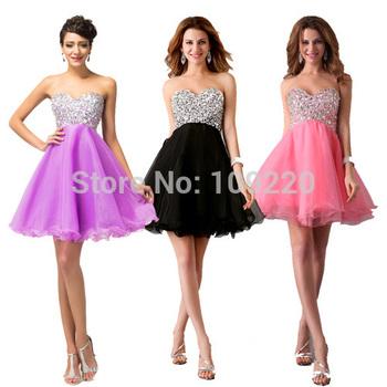 Grace Karin New Stunning Black/Pink/purple Strapless Beaded Sweetheart Prom Ball Gown Short Evening Dress Girls Party Dress 4105