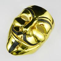 New Gold Plating Halloween Mask V Mask V for Vendetta Mask Anonymous Guy Fawkes Cosplay full face Mardi Gras Dance Costume