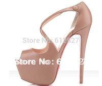 Euramerican stars style Crisscross Platform Sandal red bottom peep toe stiletto pumps heels for women size 45 100% real photo