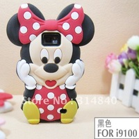 Lovely Cute Mickey 3D Silicon Silicone Back Cover Case for Samsung i9100 Galaxy S2+Free Shipping