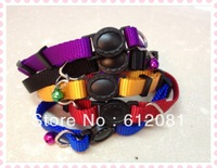 Free shipping  adjustable breakaway safety buckle cat nylon solid color pure color collar puppy collar five colors 50pcs/lot