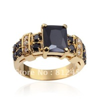 Size 8/9/10/11  Stunning Men 10KT Yellow Gold Filled Black Sapphire  Ring gift for Men