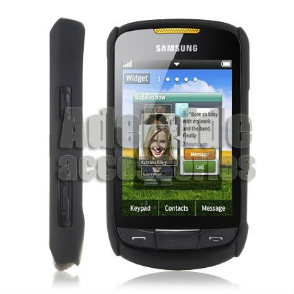 Black Hard Rubber Case Skin Cover Protector For Samsung S3850/Corby II(China (Mainland))