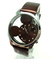 Mickey Wholesale women wristwatches ladies fashion leather strap quartz watch rhinestone Women dress watches , EW209