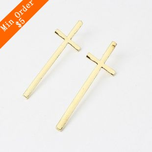 2015 New Fashion Hot Selling New PUNK Vampire Long Lath Cross Ear Studs Earring Vintage EMO Rock Gothic Gift  66E205