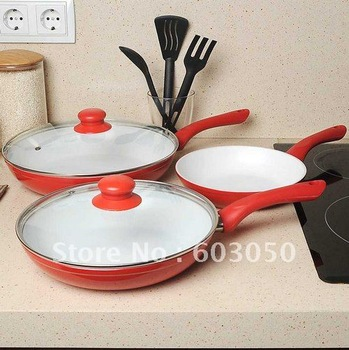 3pcs/set Concord Eco Healthy Ceramic 3 PC Nonstick Fry Pan Set CeramiCore Ceramic pan   36sets