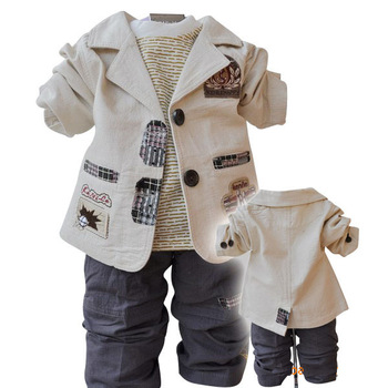 2015 (4set/lot) New 2015 Boy Clothing Set 3pcs: Top +T shirt +Trouser  2Colors: Yellow and Off white Sizes: 12 14 16 18