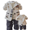 Free Shipping (4set/lot) New 2012 Boy Clothing Set 3pcs: Top +T shirt +Trouser  2Colors: Yellow and Off white Sizes: 12 14 16 18
