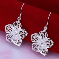 Hot Sale!!Free Shipping 925 Silver Earring,Fashion Sterling Silver Jewelry Fashion Flower Earrings SMTE035