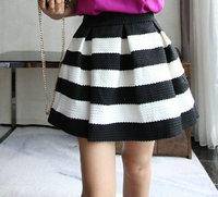 Free shipping new Europe America 2014  high waist pleated skirt striped tutu skirts wholesale high waist skirts women 2014