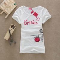 Women Cotton T Shirt Women Tops Smile Women T-shirts F12