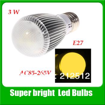 Free shipping E27 3W 3 LEDs 300-330 Lumen Led Lamp  AC85V~265V LED Bulb QP0093