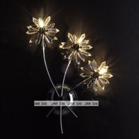 Freeshipping Flowery noble shine light colors 3 crystal wall lamp /asfour crystal wall lamp (110 or 220v)