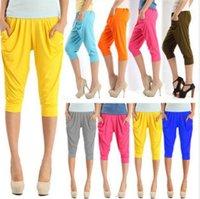 Ladies Colorful Drape Harem Pants Hip-Hop Stretch Trousers 10Colors free shipping