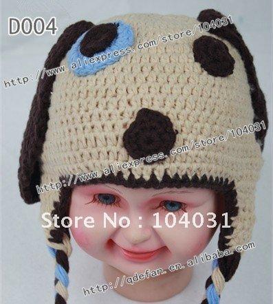 Chapéu Frete grátis (10pcs/lot) 100% algodão crochet cachorro olho azul / malha chapéus estilo boy / chapéu gorro populares(China (Mainland))