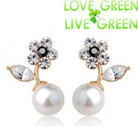 2014 Free Shipping Hotselling Wholsales Crystal 18k gold plated Flower freshwater drop earrings fashion pearl Jewelry 2853