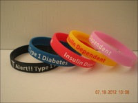 Type 1 Diabetes Insulin Dependent Medical Alert Silicone Wristbands, medical bracelet, promotion gift, 100pcs/lot, free shipping